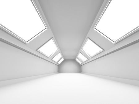 futuristic interior: Empty Wide Room Futuristic Interior Background. 3d Render Illustration