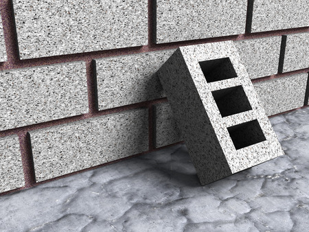 ruined house: Concrete brick construction block with wall. 3d render illustration