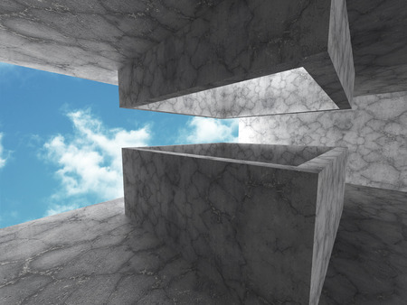 skylight: Abstract Concrete Architecture Construction Background. 3d render illustration