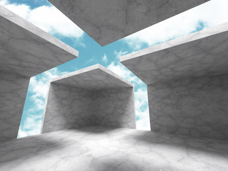 skylight: Concrete architecture background. Abstract empty room with sky. 3d render illustration