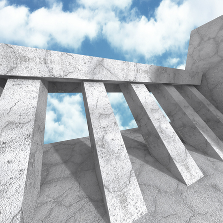 the backplate: Concrete architecture construction on cloudy sky background. 3d render illustration Stock Photo
