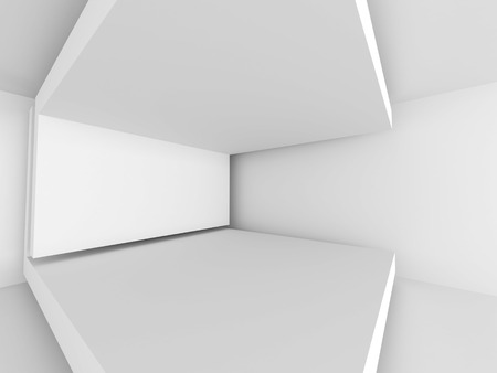 architecture: Abstract White Architecture Background. Empty Room Modern Interior. 3d Render Illustration