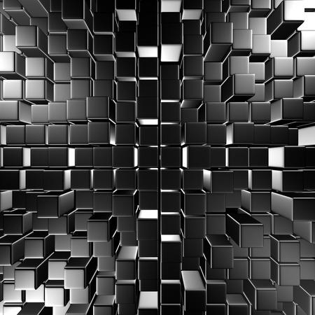 diagonals: Dark Metallic Silver Cubes Wall Background. 3d Render Illustration Stock Photo
