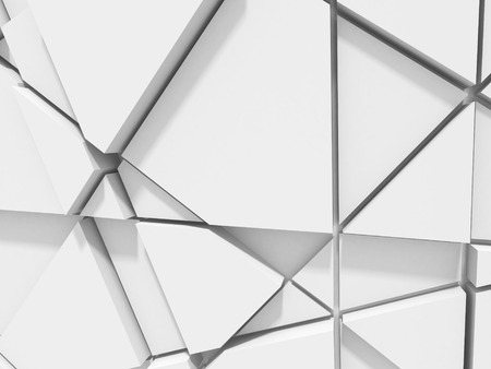 chaotic: Abstract chaotic poligon pattern white wall background. 3d render illustration