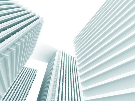 pitched roof: Abstract White Modern Buildings. Architecture Background. 3d Render Illustration