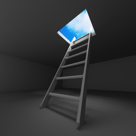 Ladder From Dark Basement. Hole To The Sky. 3d Render Illustration