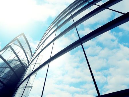 Modern glass skyscraper building exterior background. 3d render illustration