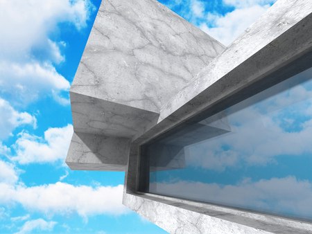 Concrete architecture background. Abstract Building modern design. Cloudy sky. 3d render illustration Stock Photo