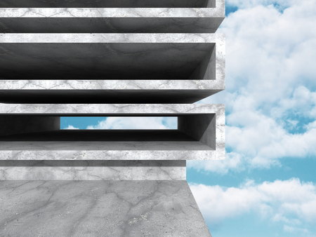 concrete background: Concrete abstract architecture on cloudy sky background. 3d render illustration Stock Photo