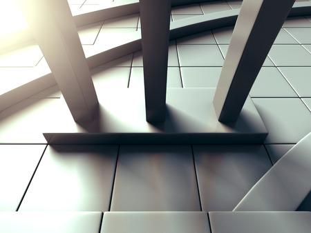 headquarters: Modern Building Architecture Design Background. 3d Render Illustration