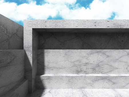 concrete background: Concrete architecture background. Abstract Building modern design. Cloudy sky. 3d render illustration Stock Photo