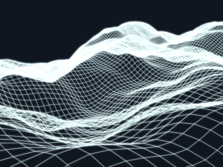 Wireframe landscape topology digital glossy background. 3d render illustration