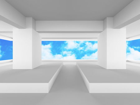 view window: Abstract modern construction architecture background. 3d render illustration