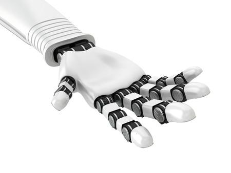 Robotic White Arm Hand Palm. 3d Render Illustration