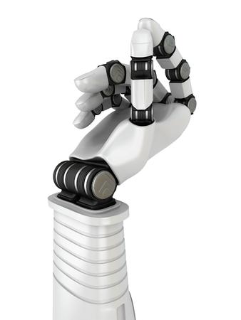 Futuristic Robot Hand Holding Blank Object. 3d Render Illustration