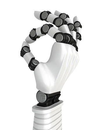 White Robot Arm Hand OK Gesture. Success Concept. 3d Render Illustration