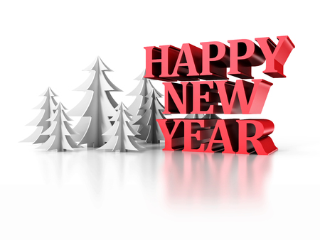 snippet: Happy New Year Text With Paper Christmas Trees. 3d Render Illustration Stock Photo