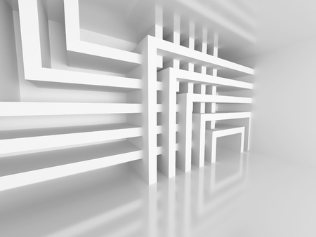 Abstract Architecture White Design Geometric Background. 3d Render Illustration