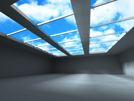 pitched roof: Modern Architecture Building With Sky Cloud Background. 3d Render Illusrtation Stock Photo
