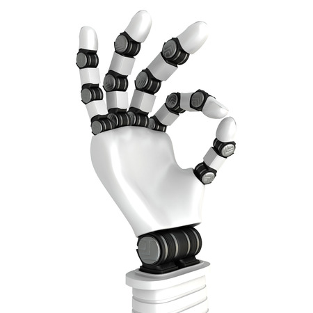 hand sign: White Robot Arm Hand OK Gesture. Success Concept. 3d Render Illustration