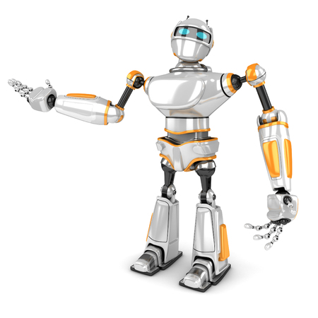 science is exciting: Futuristic White Robot Presenting Gesture. 3d Render Illustration
