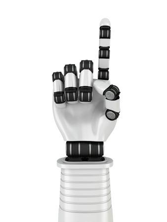 one finger: Futuristic Robot Hand Showing One Finger. 3d Render Illustration