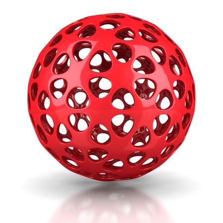 poolball: Red Digital Sphere On White Background. 3d Render Illustration