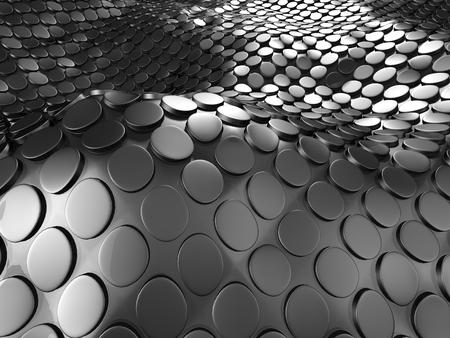 metal black: Dark Silver Metallic Abstract Background. 3d Render Illustration Stock Photo