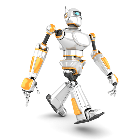 White Futuristic Robot Walling To the Camera. 3d Render Illustration Stock Photo