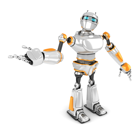 Robot blanco futurista que muestra gesto. 3d hacer ilustración Foto de archivo