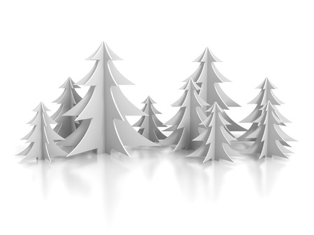 snow white: New Year Background With Paper Christmas Trees. 3d Render illustration