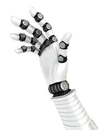mano robotica: White Futuristic Robotic Hand Arm. 3d Render Illustration Foto de archivo