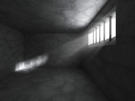 prison cell: Dark prison jail cell concrete room interior. 3d render illustration