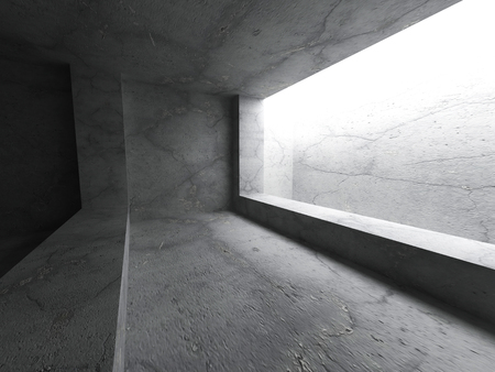 ceiling light: Dark concrete empty room with ceiling light. Architecture background. 3d render illustration
