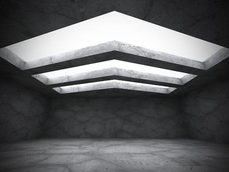 Dark empty concrete walls room interior. Grunge modern background. 3d render illustration