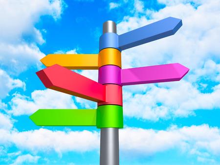 flechas direccion: Dirección del asunto colorido muestras de las flechas en el fondo de la nube del cielo azul. 3d hacer ilustración Foto de archivo