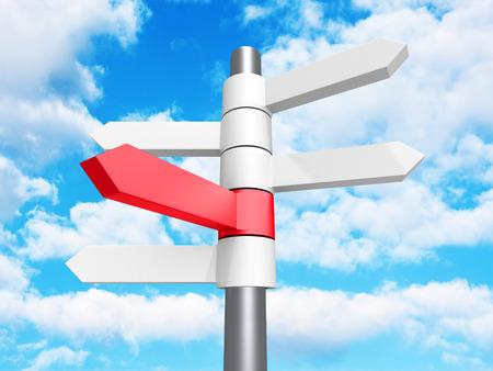 multidirectional: Direction Road Signs Arrows on Blue Sky Background. 3d Render Illustration