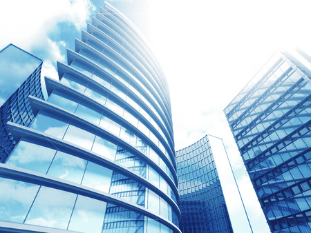 Modern Business Office Buildings Skyscrapers Blue Background. 3d Render Illustration Stock Photo