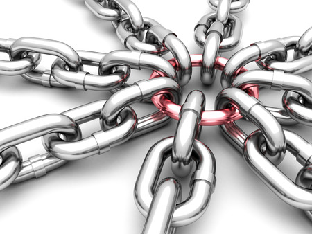 la union hace la fuerza: cadenas de cromo conectados con un enlace de color rojo en el centro. 3d ilustraci�n