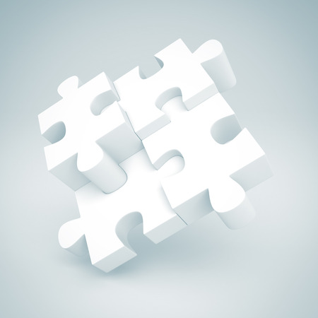 sucess: White Jigsaw Puzzle Concept Sucess Pie Chart. 3d Render Illustration Stock Photo