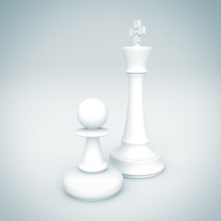 pawn: White Chess King And Pawn. 3d Render Illustration