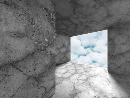 skylight: Dark concrete empty room with exit to sky background. 3d render illustration