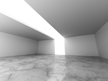 ceiling light: White empty room with concrete floor and ceiling light. 3d render illustration