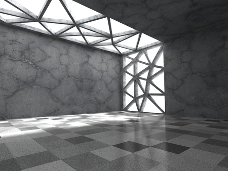 Concrete empty dark room with ceiling light. Abstract architecture background. 3d render illustration Stock Photo