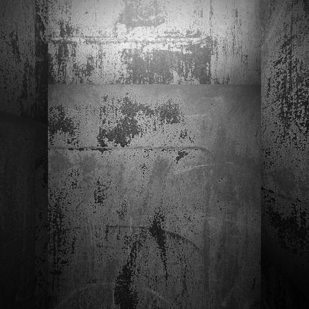 heavy effect: Rusty metallic walls empty room. Industrial grunge background. 3d render illustration