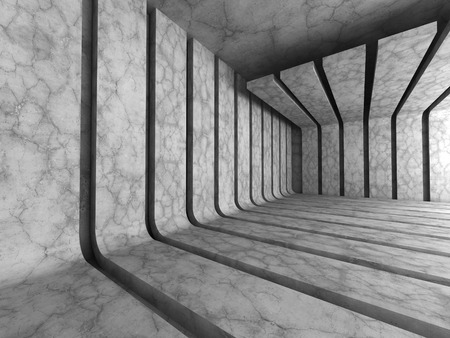 engineering design: Dark concrete empty room with stripe construction. Architecture background. 3d render illustration