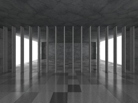 architecture abstract: Urban empty dark room interior. Modern architecture abstract background. 3d render illustration