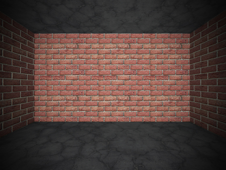 urban decay: Brick wall and concrete cracked stone floor. Grunge background. 3d render illustration