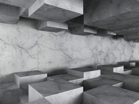Dark concrete textured architecture background with chaotic cubes design. 3d render illustration 스톡 콘텐츠