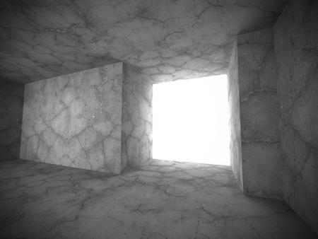 stage door: Dark concrete empty room interior with exit light. 3d render illustration